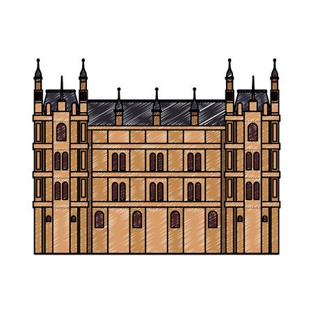 ヨーロッパアンティーク建築ベクターイラストグラフィックデザイン