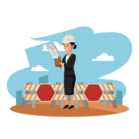 Female architect with documents at construction zone vector illustration graphic design