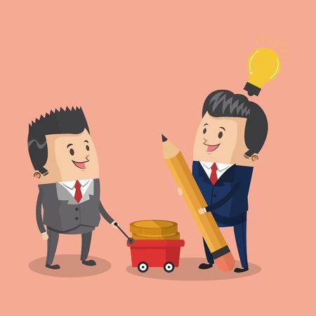 Businessmen with money on cart cartoons vector illustration graphic design  イラスト・ベクター素材