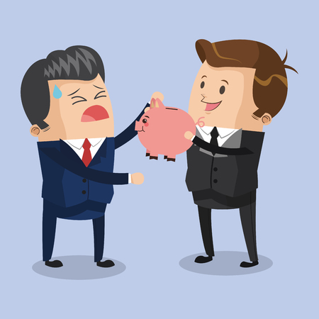 Businessmen without savings cartoons vector illustration graphic design