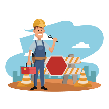 Worker at construction zone vector illustration graphic design