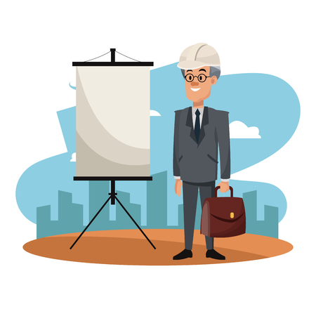 Businessman with briefcase on construction zone cartoon vector illustration graphic design Illustration