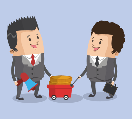 Businessmen with money on cart cartoons vector illustration graphic design Çizim