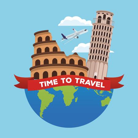 Travel to europe cartoons vector illustration graphic design