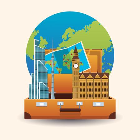 Time to travel concept vector illustration graphic design Vettoriali