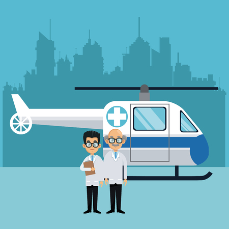 Medical teamwork with helicopter vector illustration graphic design Vectores