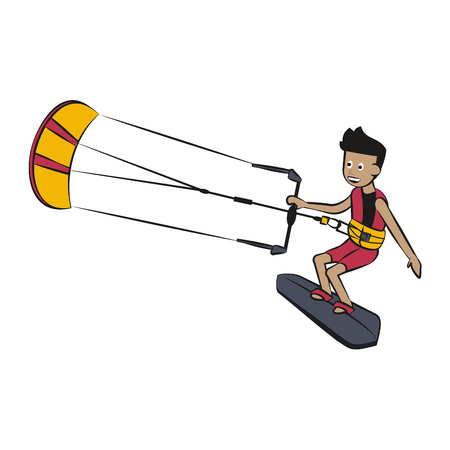 Kitesurf Water sport cartoon vector illustration graphic design