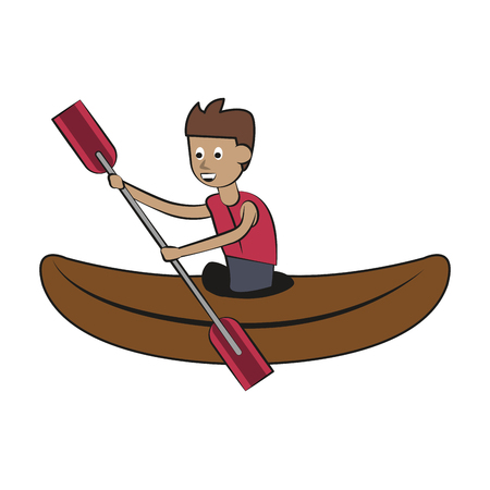 Kayaking Water sport cartoon vector illustration graphic design