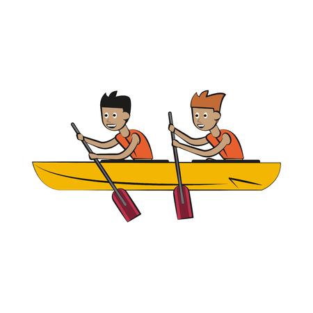 Rowing boat Water sport cartoon vector illustration graphic design