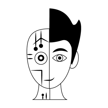 Human and robot head silhouette vector illustration graphic design