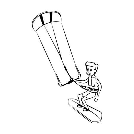 Kitesurf Water sport cartoon vector illustration graphic design Vektorové ilustrace