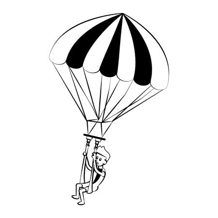 Parasailing Water sport cartoon vector illustration graphic design