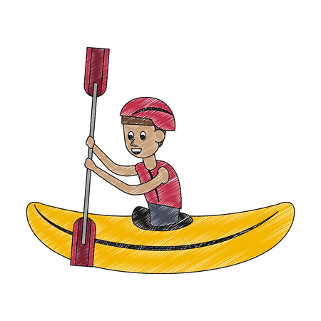 Canoeing Water sport cartoon vector illustration graphic design