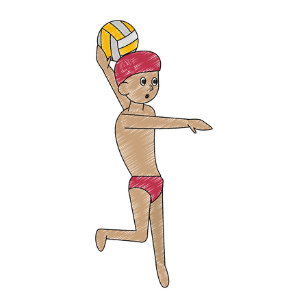 Waterpolo Water sport cartoon vector illustration graphic design
