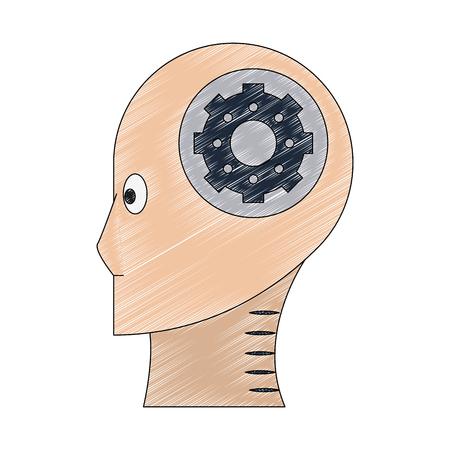 robot head profile vector illustration graphic design Illustration