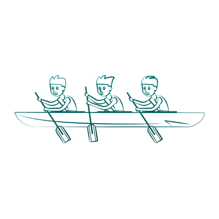 Rowing boat Water sport cartoon vector illustration graphic design