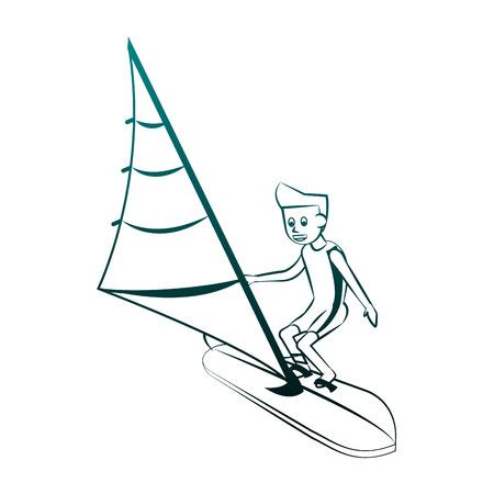 Windsurf Water sport cartoon vector illustration graphic design Stock Illustratie