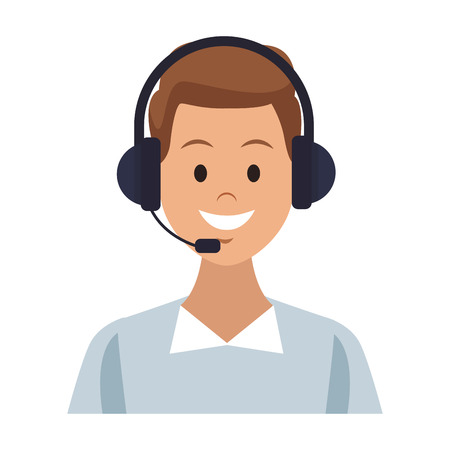 Male call center agent vector illustration graphic design