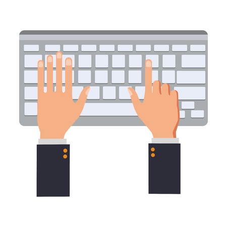 Hands using keyboard vector illustration graphic design