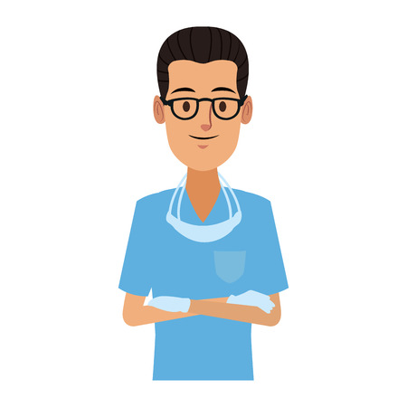 Dentist male cartoon vector illustration graphic design Vectores