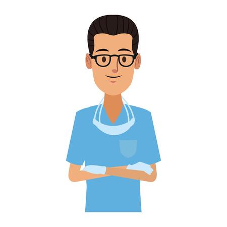 Dentist male cartoon vector illustration graphic design Illustration