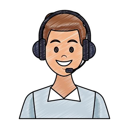 Male call center agent vector illustration graphic design