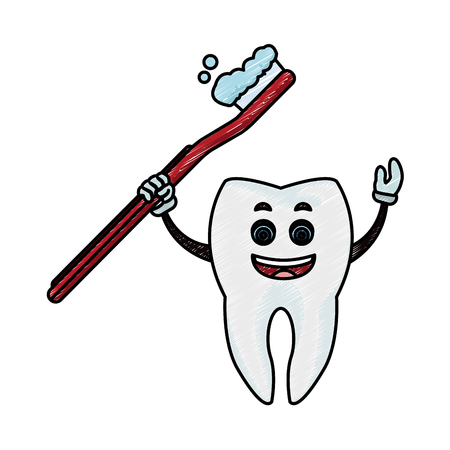 Tooth with toothbrush vector illustration graphic design