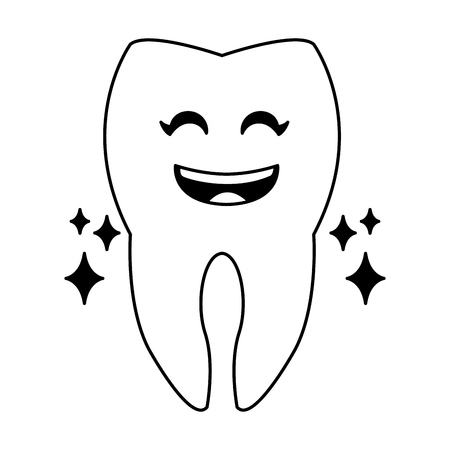 clean tooth cartoon vector illustration graphic design