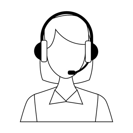 Female call center agent vector illustration graphic design 向量圖像