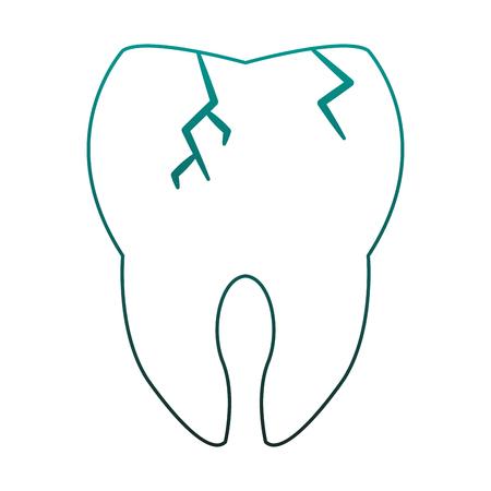 Tooth broken cartoon vector illustration graphic design