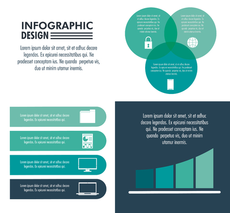 Infographic technology design on blue and white colors vector illustration graphic design Иллюстрация