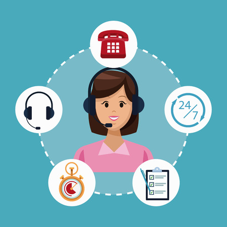 Customer service and support call center concept vector illustration graphic Illusztráció