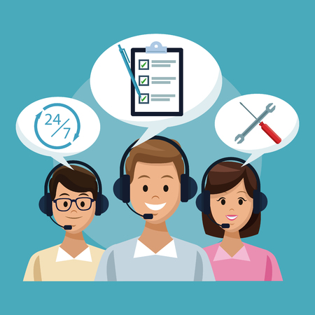 Customer service and support call center concept vector illustration graphic Vettoriali