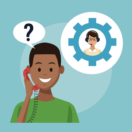 Customer service and support call center concept vector illustration graphic  イラスト・ベクター素材