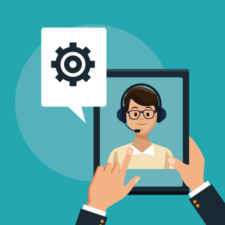 Customer service and support call center concept vector illustration graphic Illustration