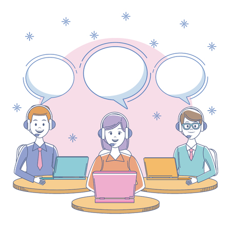Call center office workplace with people vector illustration graphic Illustration