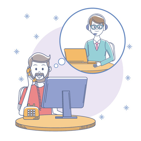 Call center man agent at office vector illustration graphic