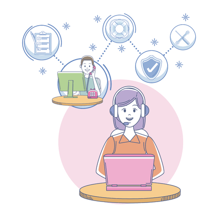 Call center agent at office vector illustration graphic Illustration