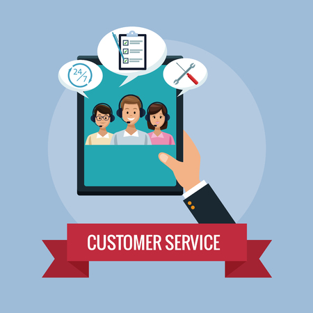 Customer service agents concept vector illustration graphic Illustration