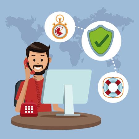 User calling to customer service illustration.