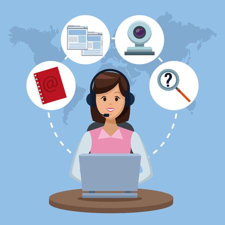 Customer service agents concept. Vektorové ilustrace