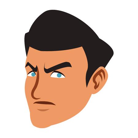 Angry man face cartoon vector illustration graphic design Vector Illustration