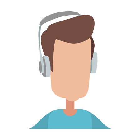 Faceless man with headphones vector illustration graphic design