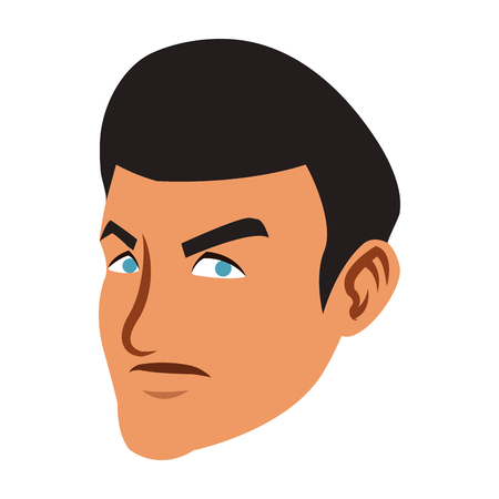 Angry man face cartoon vector illustration graphic design.
