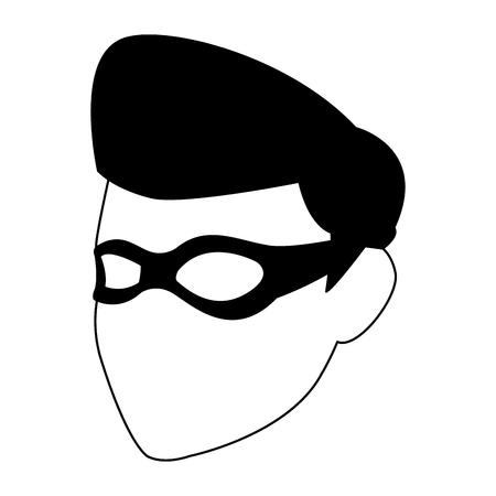Male superhero face with mask vector illustration graphic design