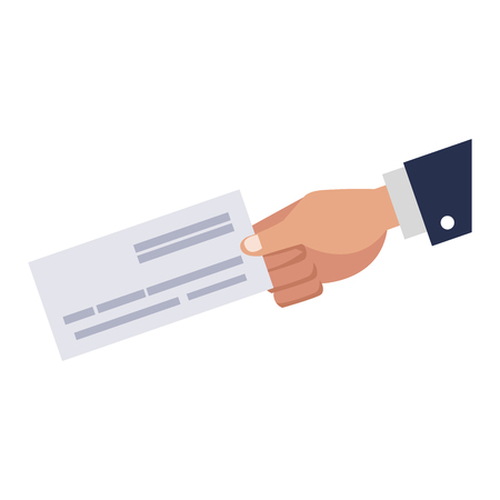 Hand holding cheque vector illustration