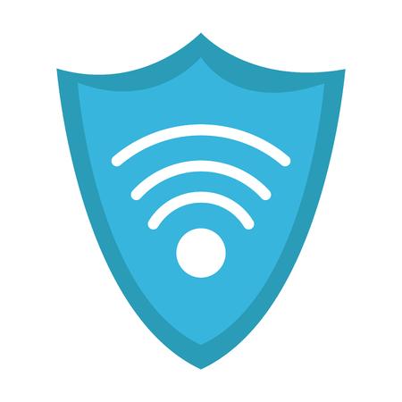 Shield with wifi symbol vector illustration graphic design.