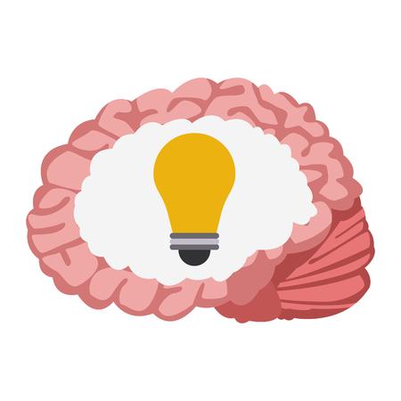 Human brain with light bulb inside vector illustration graphic design