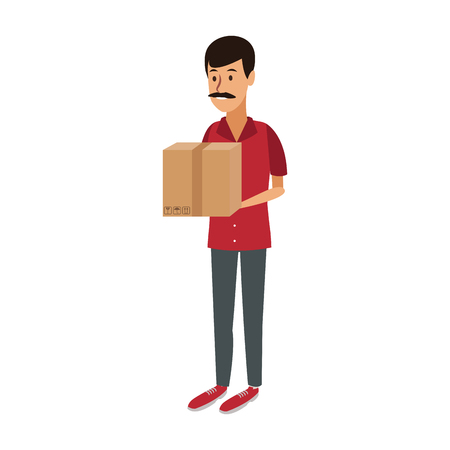 Man holding box vector illustration graphic design. Illustration