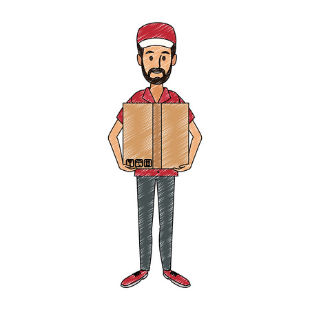 Courier holding box vector illustration graphic design. Vettoriali